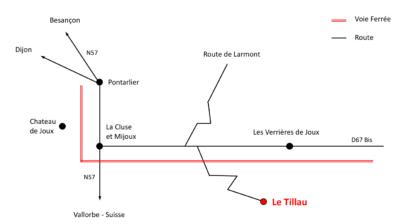 Carte d'accès à l'hôtel restaurant Le Tillau