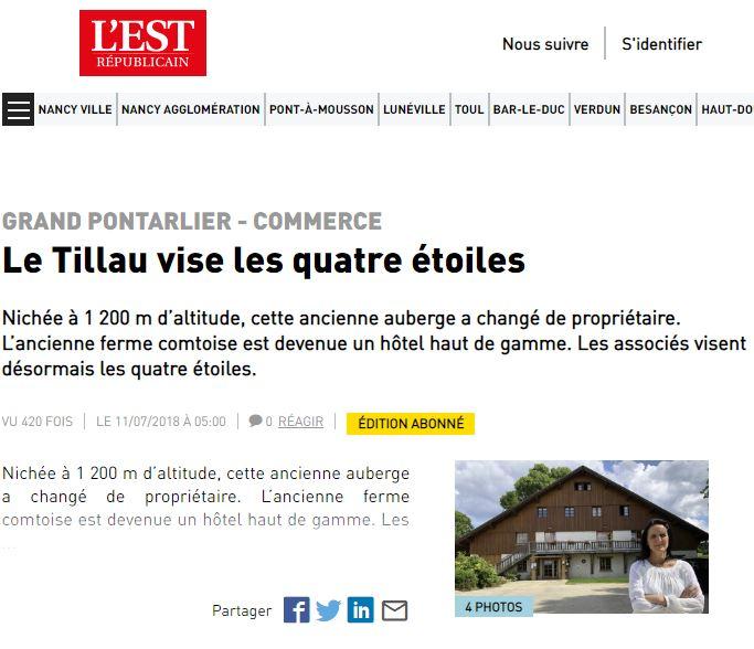 Article de l'Est Républicain sur l'hôtel restaurant Le Tillau